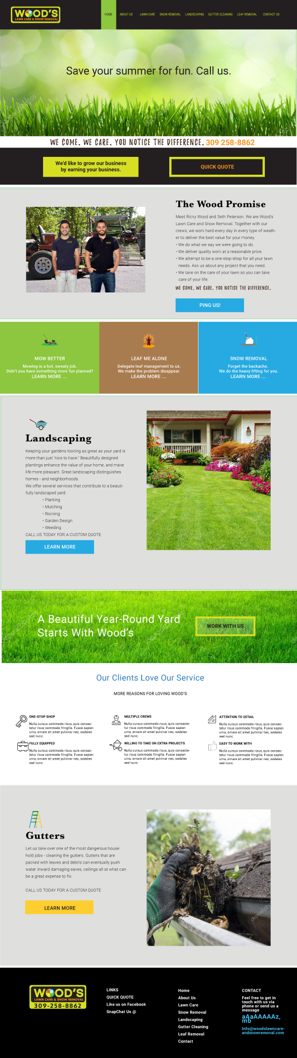 Wood's Lawn Care and Snow Removal Website Design